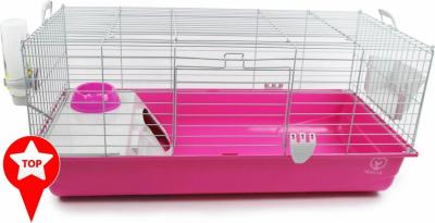 Cage lapin ZOLIA Pinky 3 édition Fuchsia toute équipée