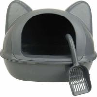 Maison toilette tête de chat gris
