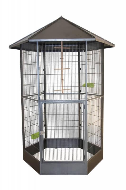 voli re hexagonale en m tal melody cage petits oiseaux. Black Bedroom Furniture Sets. Home Design Ideas