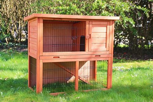 Clapier + enclos pour lapin et rongeurs ZOLIA Belino avec cour extérieure et tiroir