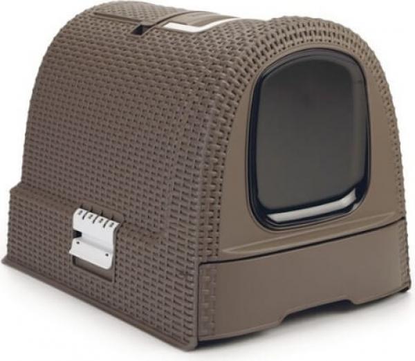 maison de toilette curver pour chats moka aspect rotin. Black Bedroom Furniture Sets. Home Design Ideas