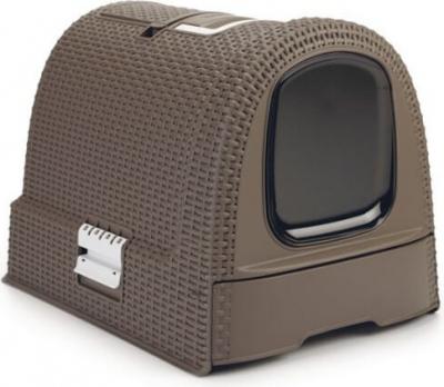 Katzentoilette für Katzen in moka - mit Rattan-Optik
