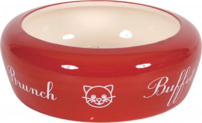 Comedero cerámica anti salpicaduras para gatos, 0.3 L rojo
