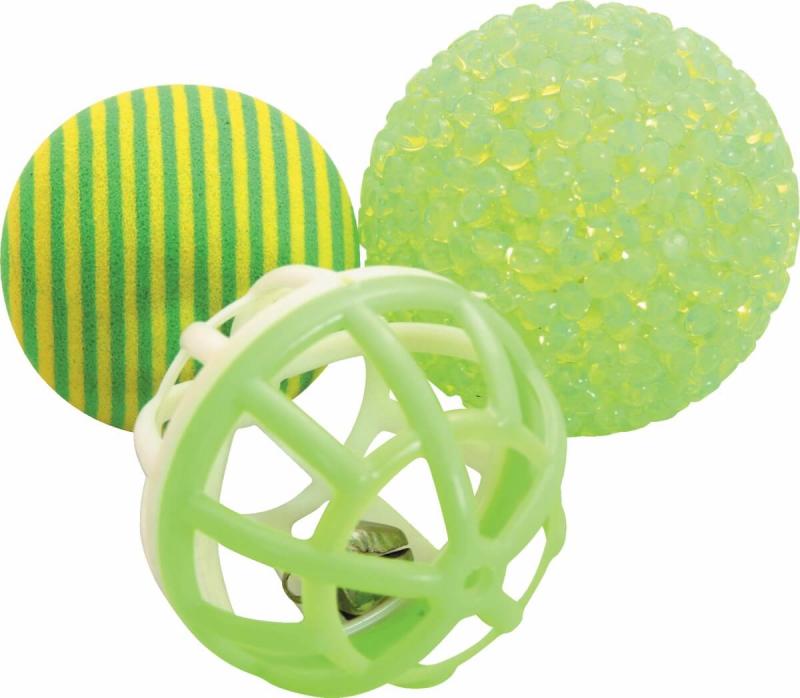 Trio ballen voor katten groen 4 cm