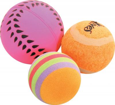 Set de 3 balles variées pour chat 4 cm