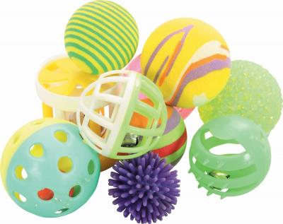 Set de 10 pelotas variadas para gatos 4 cm