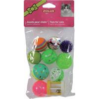 Set de 10 balles variées pour chat 4 cm