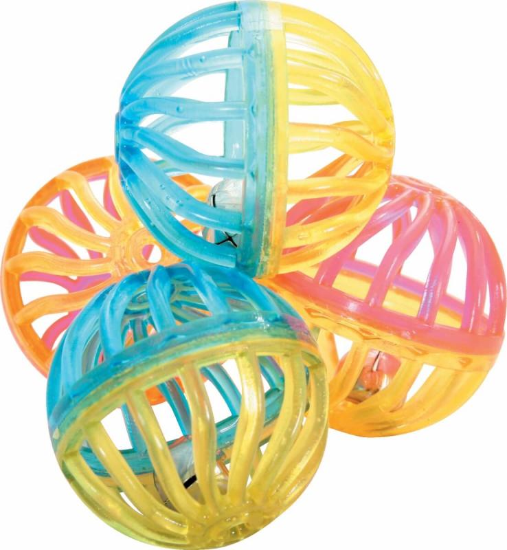 Set de 4 sphères avec grelot pour chat 4 cm