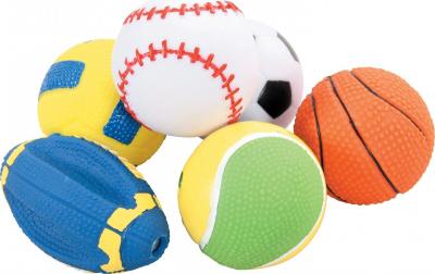 Set de 5 balles sport vinyl 6 cm pour chien