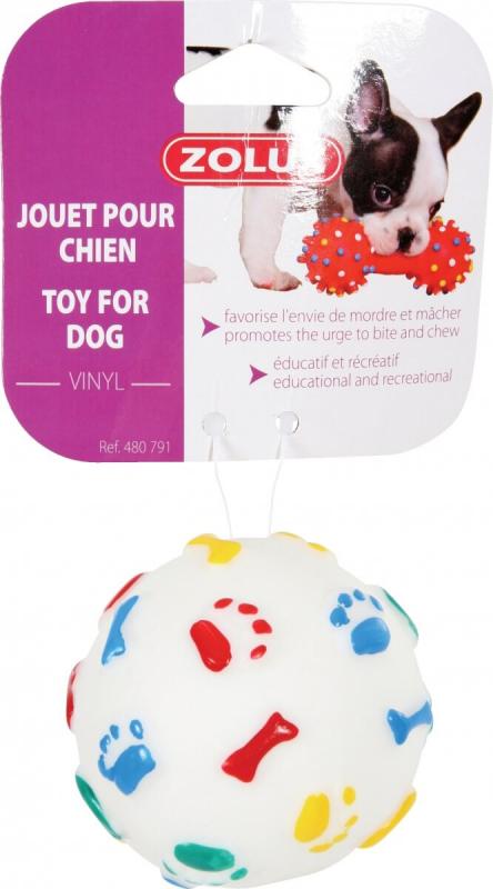 Jouet balle rebond 7,5 cm vinyl pour chien