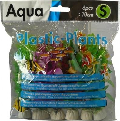 6 plantes plastiques divers coloris 10 cm