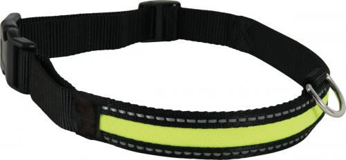 Collier LED rechargeable en nylon noir vert