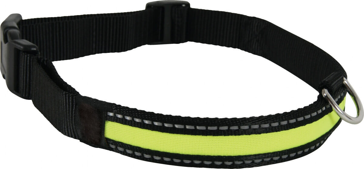 Collier LED rechargeable en nylon noir vert_0