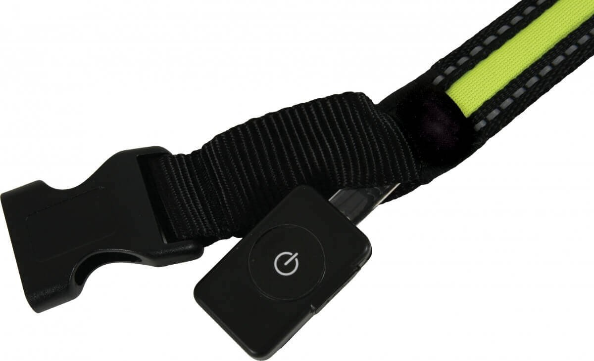 Collier LED rechargeable en nylon noir vert_1