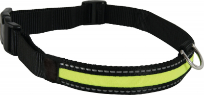 Halsband mit LED aus Nylon in schwarz/gelb