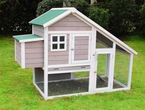 poulailler clapier luxe gris et blanc zolia noa pour 2 poules max poulailler basse cour. Black Bedroom Furniture Sets. Home Design Ideas