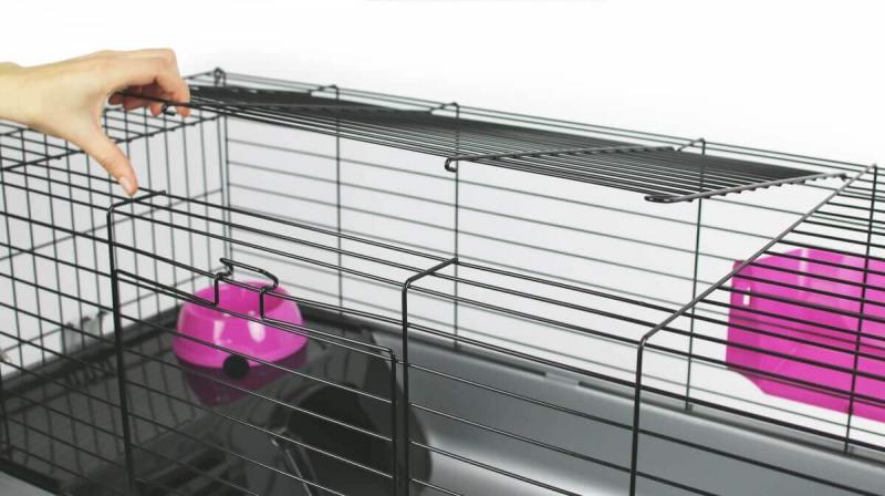 Luxe Kooi NERO 3 Black Fuchsia voor konijnen en cavia's - 100 cm