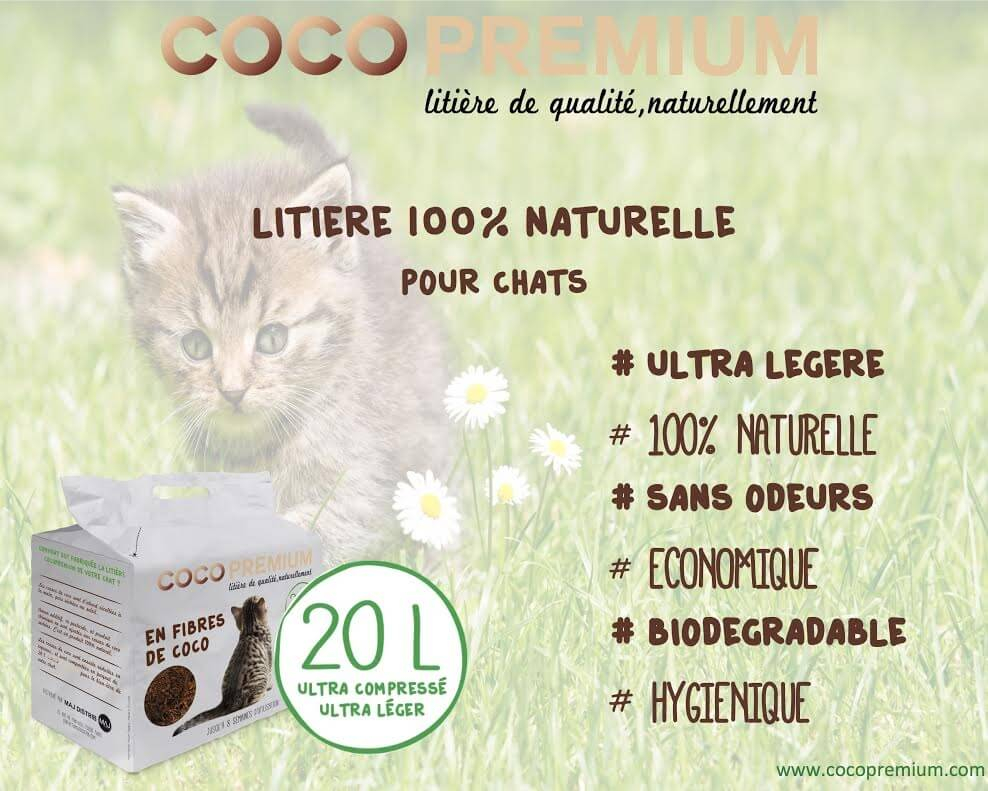 Litière végétale chat COCOPREMIUM en fibres de coco 20L_1