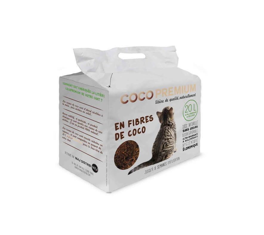 Litière végétale chat COCOPREMIUM en fibres de coco 20L_0