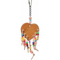 Spielzeug mit Leder Herz und Perlen an Riemen