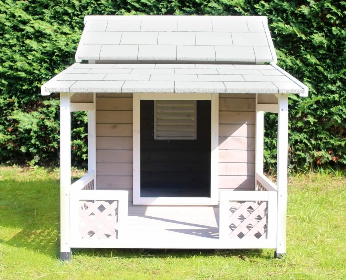 Niche en bois avec terrasse pour grand chien zolia falco for Maison exterieur pour chat