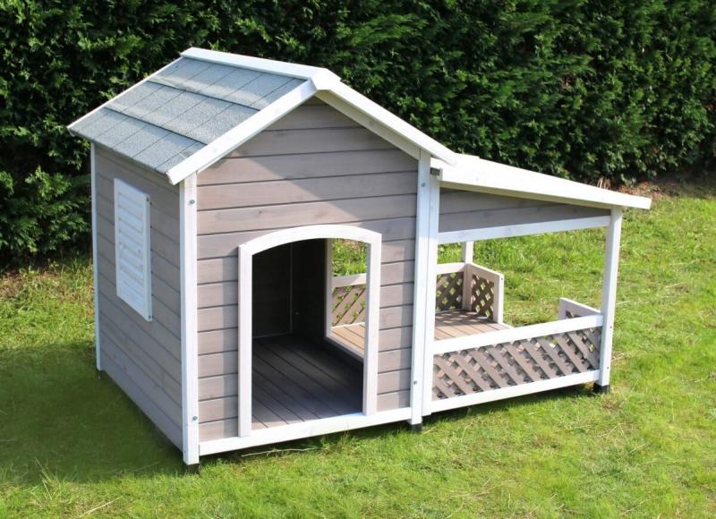 niche en bois avec terrasse pour grand chien zolia falco. Black Bedroom Furniture Sets. Home Design Ideas