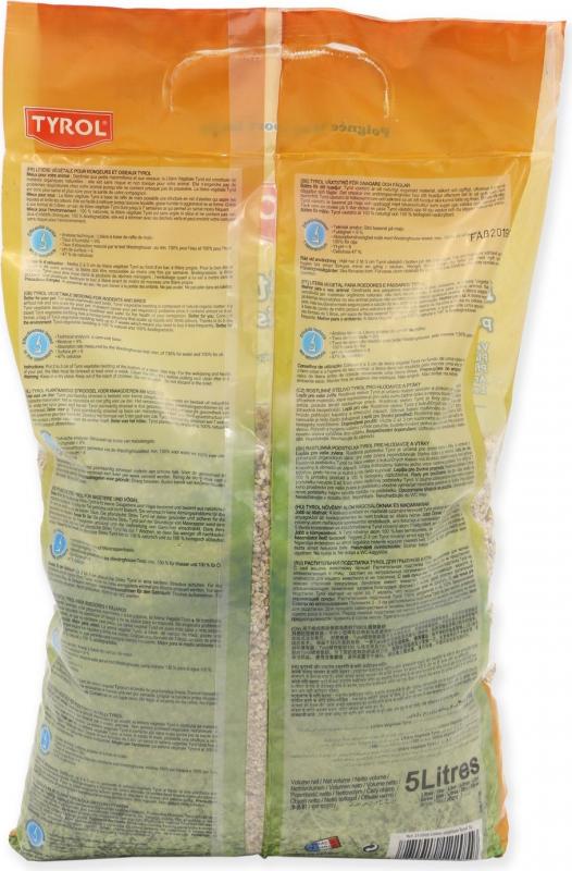 TYROL Litière végétale pour Oiseaux domestiques et Rongeurs. 100% Naturelle et Biodégradable. Efficace 7 semaines. 5L