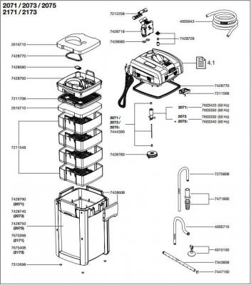 Pièces détachées pour filtre externe Eheim Professionel III 2071, 2073, 2074 et 2075
