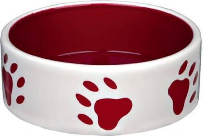 Keramiknapf in creme mit roten Pfotenabdrücken