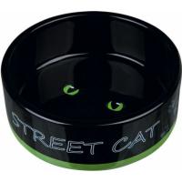 Comedero de cerámica negro Street Cat