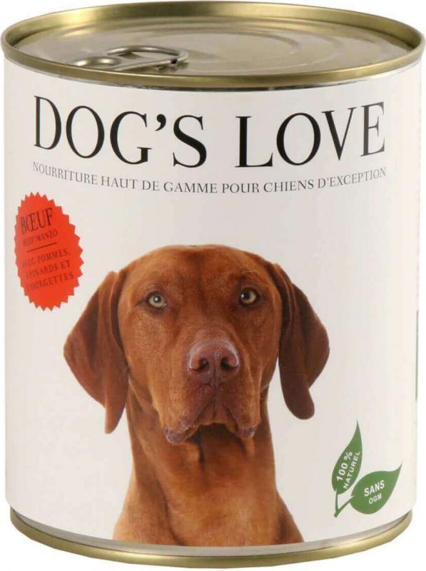 Pâtée 100% naturelle Dog's Love pour chien adulte au boeuf sans céréales