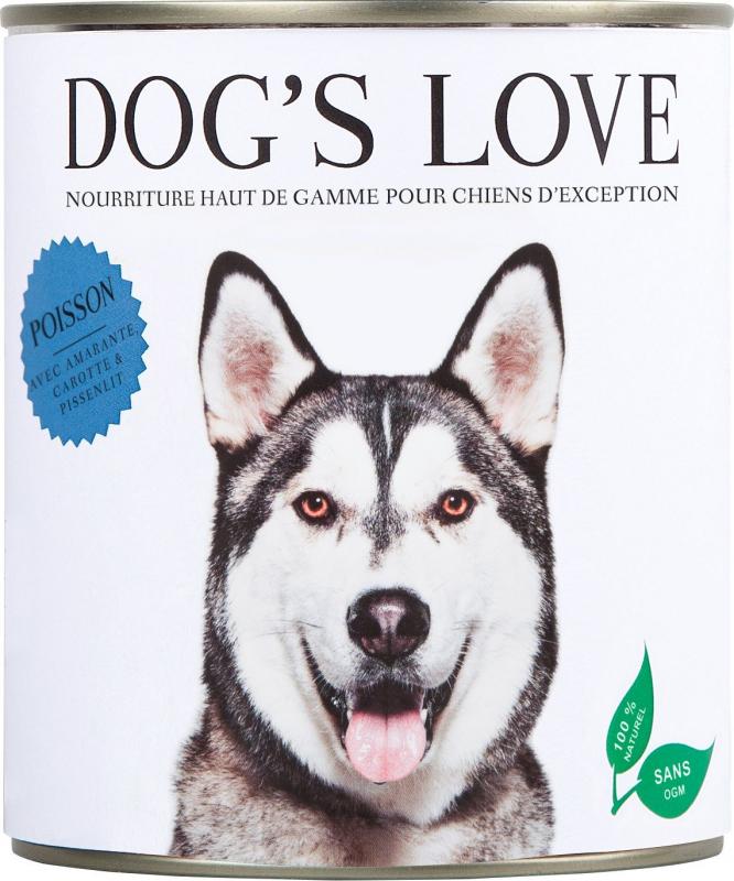 Pâtée 100% naturelle Dog's Love pour chien adulte au poisson sans céréales