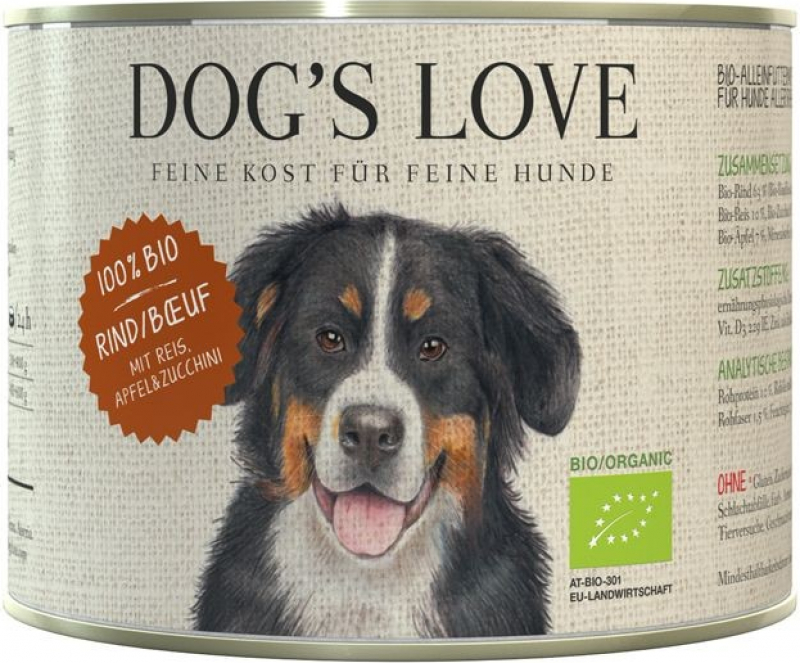 Pâtée BIO 100% naturelle Dog's Love au boeuf