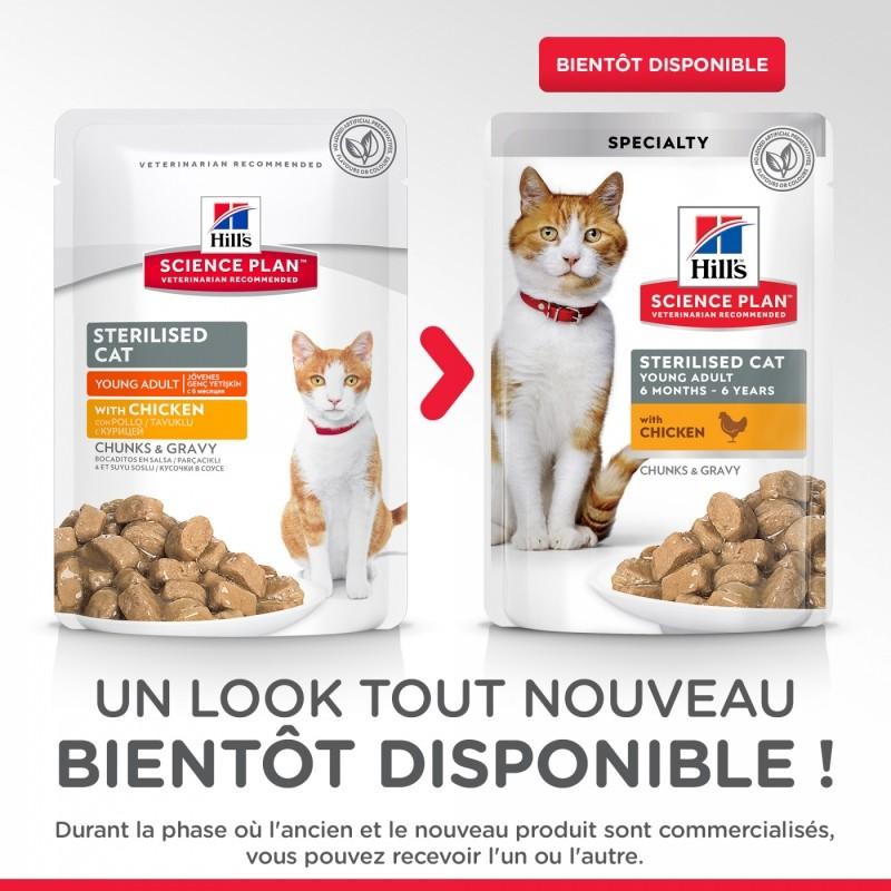 Pack de 12 pâtées HILL'S Science Plan Sterilised Cat Young & Adult au Poulet pour chat stérilisé