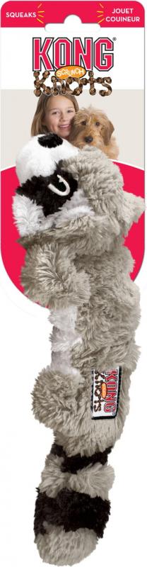 Peluche KONG chien SCRUNCH KNOTS raton laveur