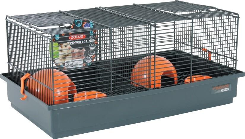 k fig indoor 50cm f r hamster und m use in grau orange hamsterk fige. Black Bedroom Furniture Sets. Home Design Ideas