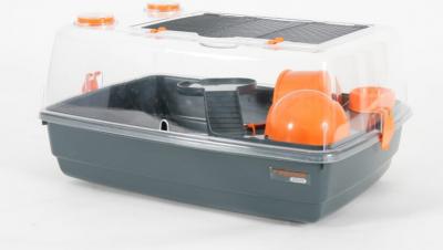 Jaula Indoor 55 cm vision 360 para hamster ratón, color  naranja gris
