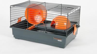 Jaula Indoor 40 cm para hamster, color naranja y gris
