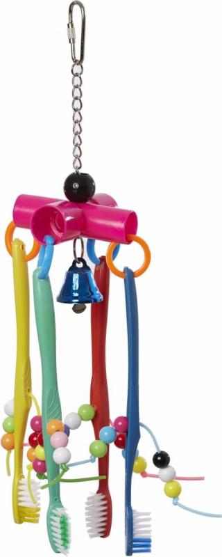 Jouet brosses à dents suspendues pour grande perruche