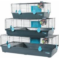 Cage Indoor pour lapin, cochon d'inde bleue grise