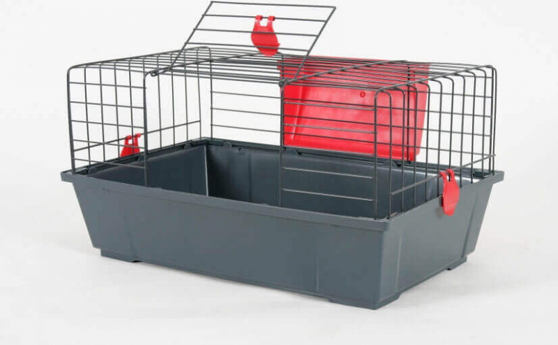 Cage Classic rouge grise pour lapin