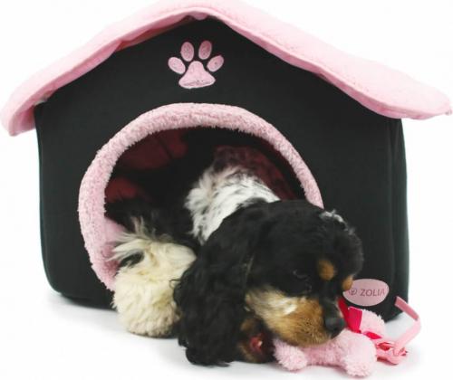 Caseta chic paris negra y rosa para gatos y perros for Caseta perro pequeno