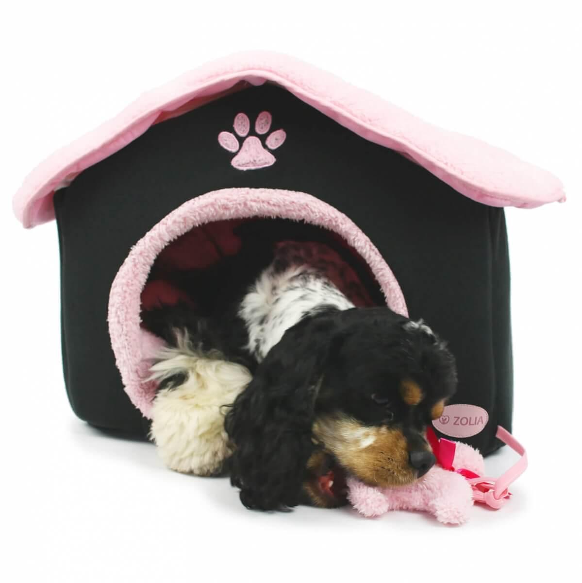niche zolia chic paris noir et rose pour chats et petits chiens panier et corbeille. Black Bedroom Furniture Sets. Home Design Ideas