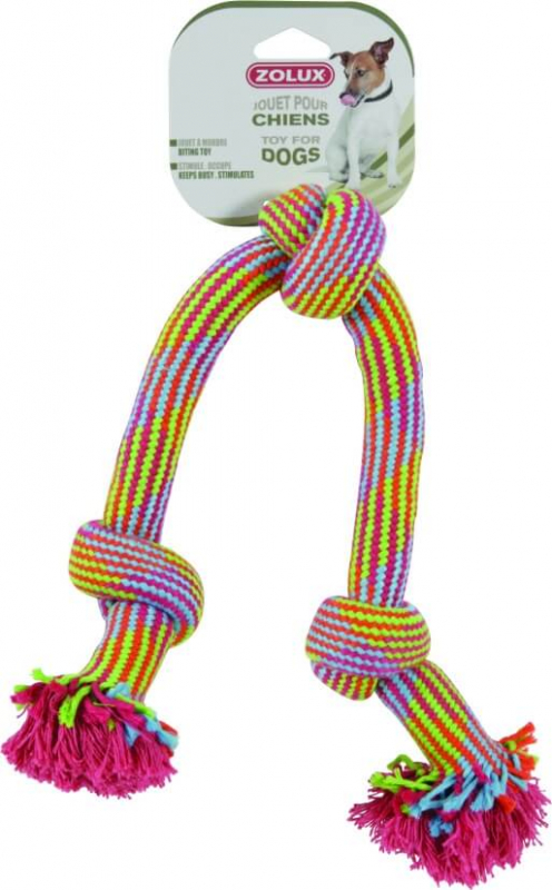 Jouet corde 3 noeuds colorés 48cm