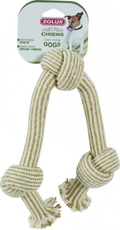 Jouet corde 3 noeuds nature 48cm