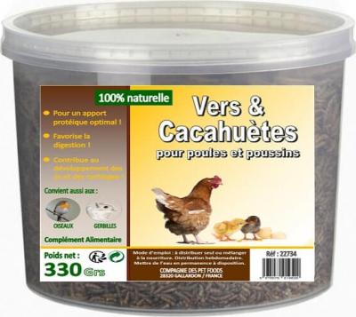 Vers de farine et cacahuètes pour poules
