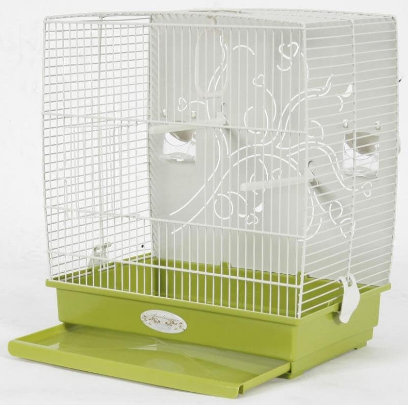 Cage Arabesque Adèle 40cm verte avec fond métal - H42cm
