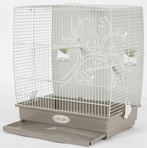Cage Arabesque Adèle 40cm grise avec fond métal_3