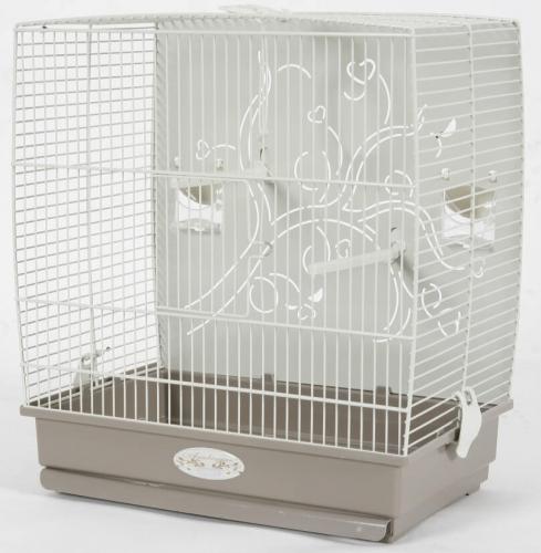 Cage Arabesque Adèle 40cm grise avec fond métal_2