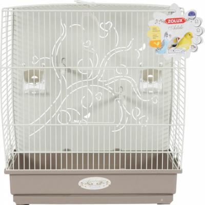Cage Arabesque Adèle 40cm grise avec fond métal